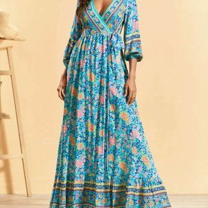 Floral Turquoise Pink Supper Boho Lightweight Wrap